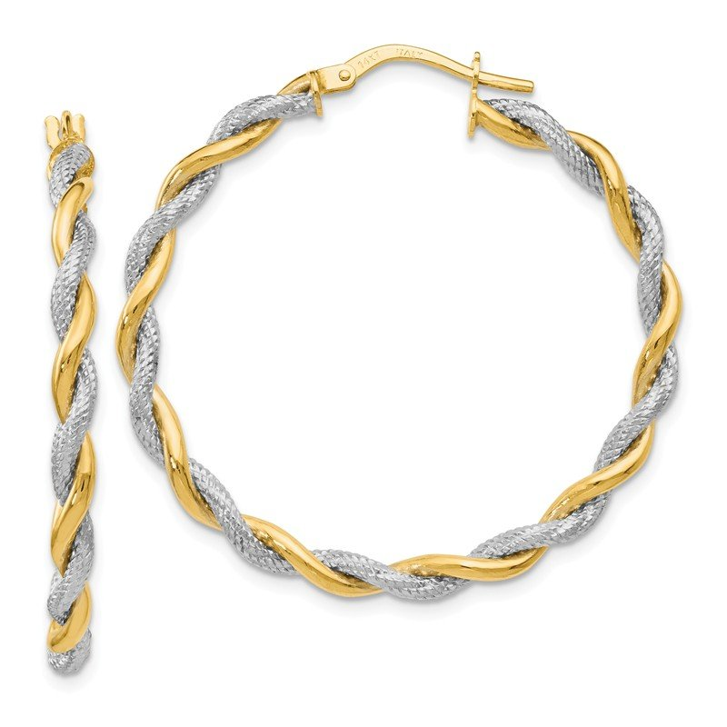 Leslie's Leslie's 14K Rhodium-plated Textured Twisted Hoop Earrings