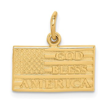 14k God Bless America Flag Charm