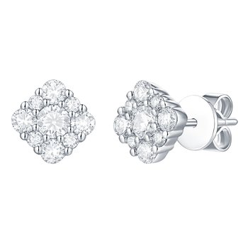 Smiling Rocks 0.76Ct G-H/VS1 Lab Grown Diamond Flower Stud Earring