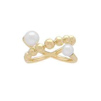 Honora 14KY 4.5-6mm White RRound Freshwater Culture Pearl Pebble Crossed Band Ring