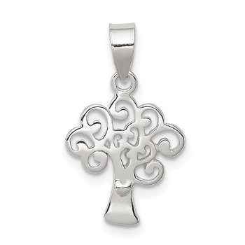Sterling Silver Polished Tree Pendant