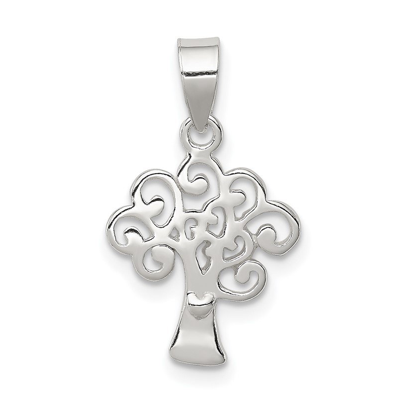 Quality Gold Sterling Silver Polished Tree Pendant