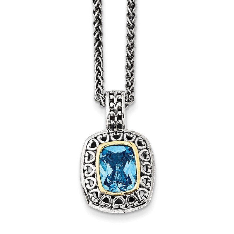 Shey Couture Sterling Silver w/14k Antiqued Light Swiss Blue Topaz Necklace