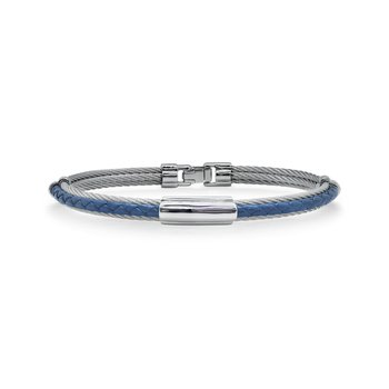 Grey Cable & Blue Leather Bracelet with Slim Steel Station