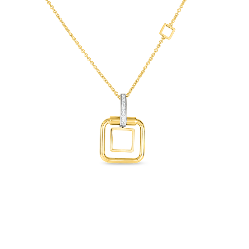 Roberto Coin  #27991 Of 18K Sm Double Square Pendant W. Dia Accent On Chain