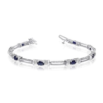 10k White Gold Natural Sapphire And Diamond Tennis Bracelet