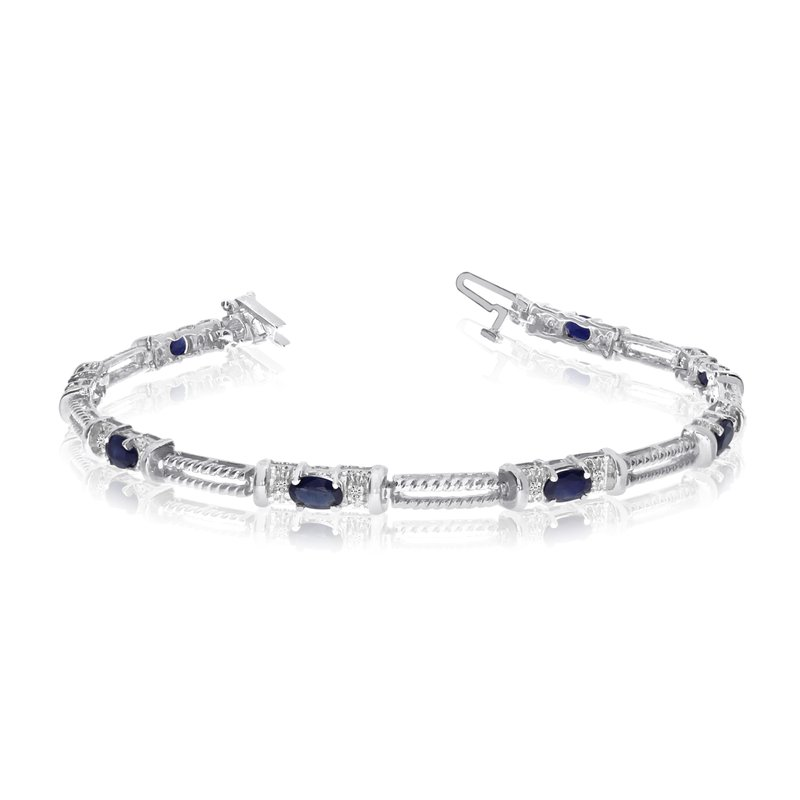 Color Merchants 10k White Gold Natural Sapphire And Diamond Tennis Bracelet