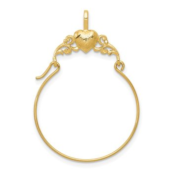 14k Polished Heart Charm Holder
