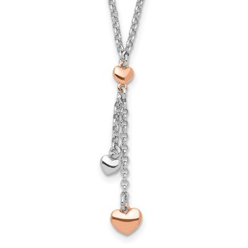 Sterling Silver RH-plated Rose gold-plated Heart 1.5in ext.Necklace