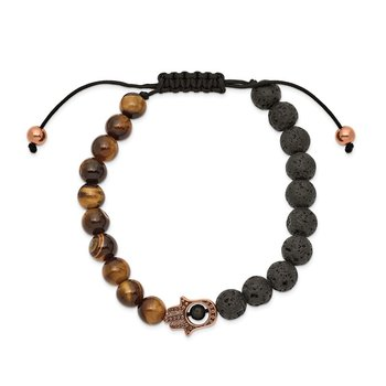 Stainless Steel Polished Rose IP Lava Stone and Tiger's Eye Adj. Bracelet