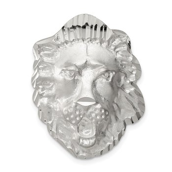 Sterling Silver Satin Lion Head Charm