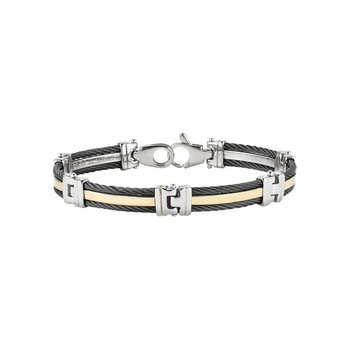 Men's Gunmetal Cable Bracelet with Yellow Gold Band and Stainless Steel Links
