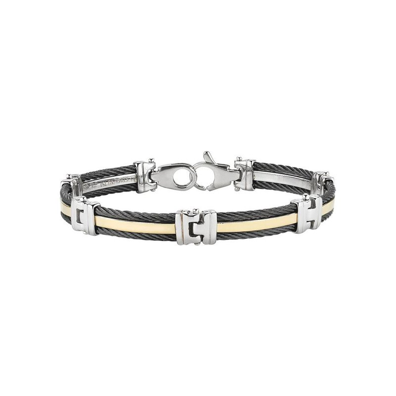ALOR Men's Gunmetal Cable Bracelet with Yellow Gold Band and Stainless Steel Links