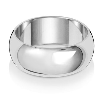 9Ct White Gold 8mm D Shape Wedding Ring