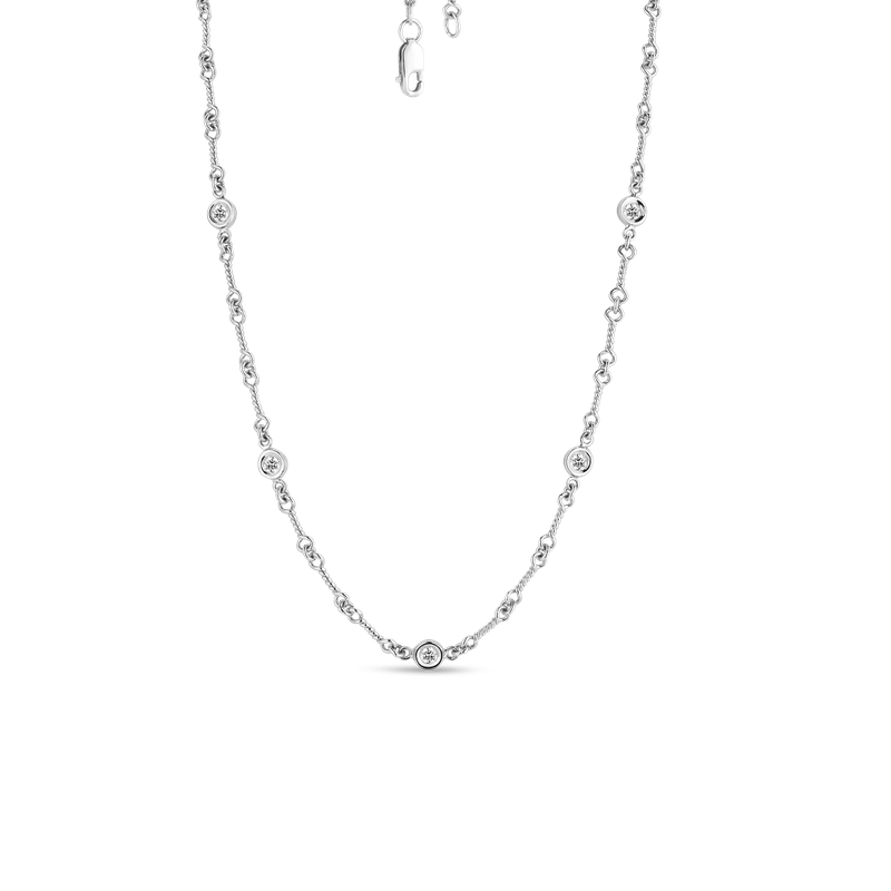 Roberto Coin 18Kt Gold 7 Station Diamond Necklace Dog Bone Link Chain