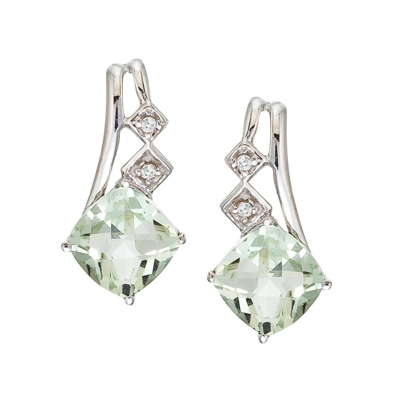 Color Merchants 14K White Gold Green Amethyst and Diamond Earrings