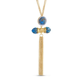 LuvMyJewelry Sunkissed Turquoise & Diamond Necklace in Sterling Silver & 14 KT Yellow Gold Plating