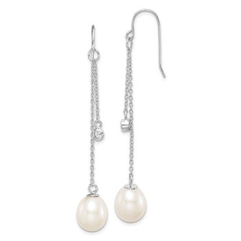 Sterling Silver Rhod-plat 9-10mm White Rice FWC Pearl CZ Dangle Earrings