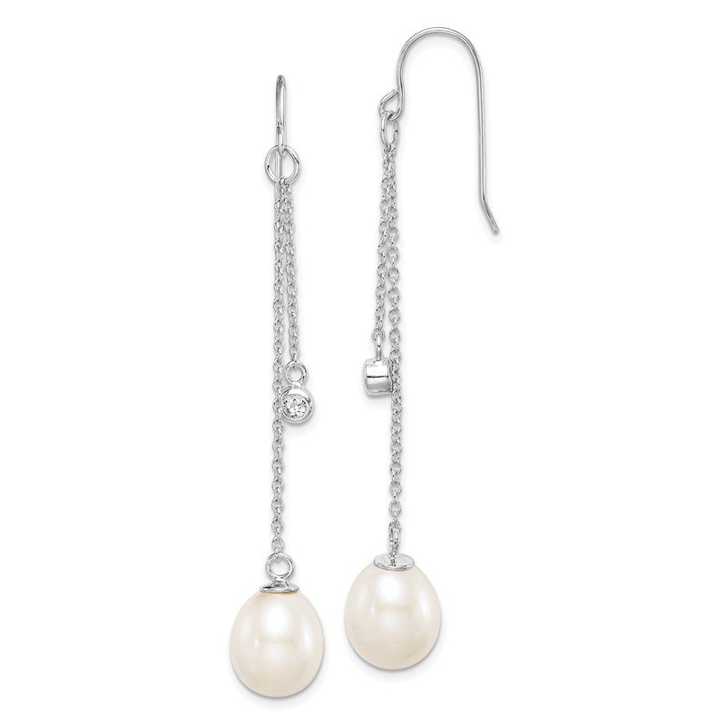 Quality Gold Sterling Silver Rhodium-plated 9-10mm Rice FWC Pearl CZ Dangle Earrings