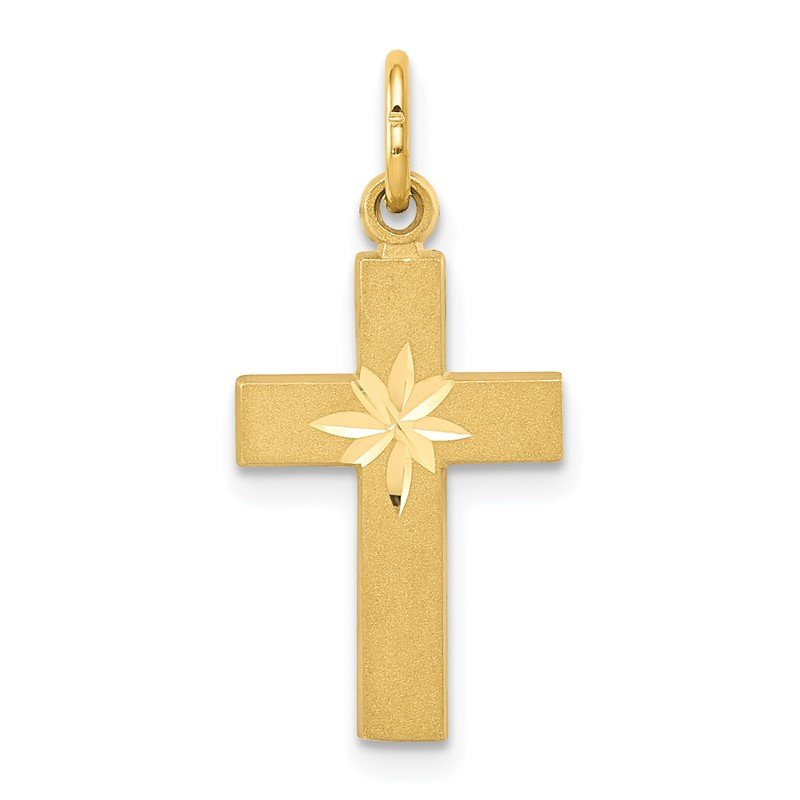 Quality Gold 14k Small Diamond-cut Cross Pendant