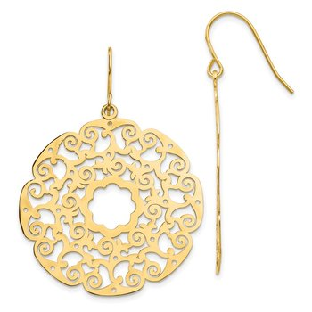 14K Fancy Lace Filigree Dangle Earrings