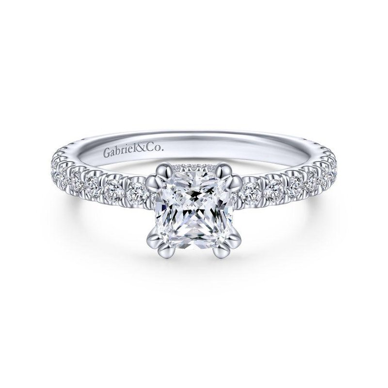 Gabriel Bridal 14K White Gold Hidden Halo Cushion Cut Diamond Engagement Ring