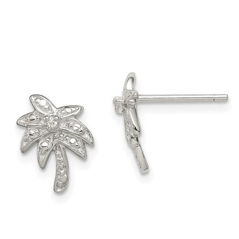 Sterling Silver CZ Palm Tree Post Earrings