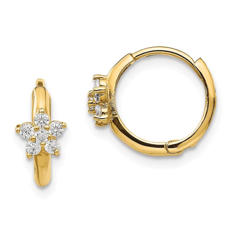 14K Yellow Gold CZ Polished 11mm Hinged Hoop Earrings