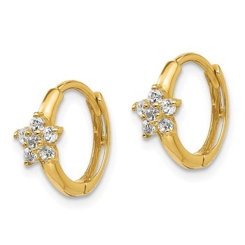 14k Madi K CZ Children's Flower Hinged Hoop Earrings