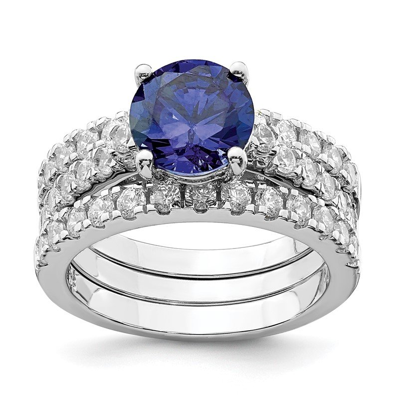 Quality Gold Sterling Silver Rhodium-plated 8mm Blue CZ Ring & 2 CZ Band Set