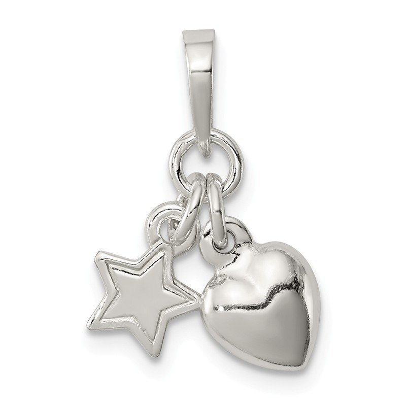 Quality Gold Sterling Silver Heart and Star Pendant