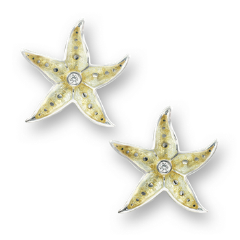 Sterling Silver Starfish Stud Earrings-Yellow. Diamonds