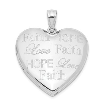 Sterling Silver Rhodium-plated Faith Hope Love Ash Holder Heart Locket