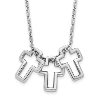 Sterling Silver Rhodium-plated 18in 3-Cross Necklace