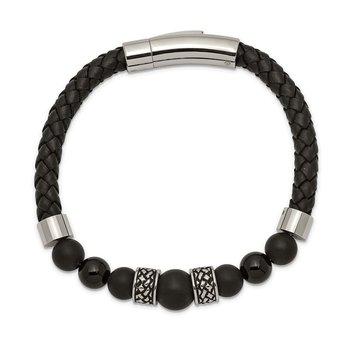 Stainless Steel Antiqued and Polished Black Agate Leather 8.25in Bracelet