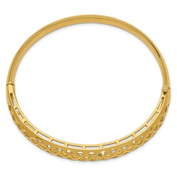 14k 6.25-12.5mm Graduated Fancy Weave Hinged Bangle Bracelet
