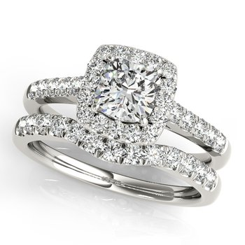 - Round Halo Accented Diamond Engagement Ring and Wedding Band Set