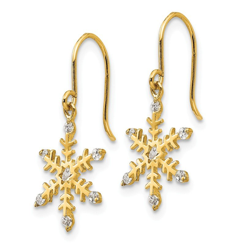 Quality Gold 14k Madi K CZ Children's Snowflake Dangle Earrings