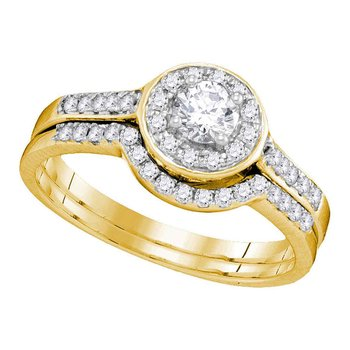 14kt Yellow Gold Womens Diamond Round Halo Bridal Wedding Engagement Ring Band Set 1/2 Cttw