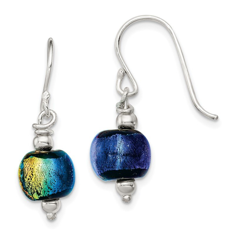 Quality Gold Sterling Silver Dichroic Glass Bead Earrings