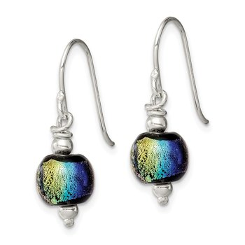 Sterling Silver Dichroic Glass Bead Earrings