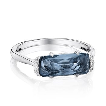 Solitaire Emerald Cut Ring with London Blue Topaz