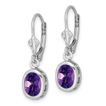 Sterling Silver Rhodium 8x6mm Oval Amethyst Leverback Earrings