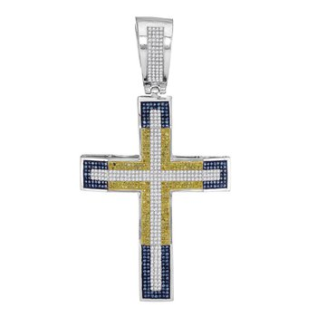 10kt White Gold Mens Round Yellow & Blue Color Enhanced Diamond Roman Cross Charm Pendant 2.00 Cttw