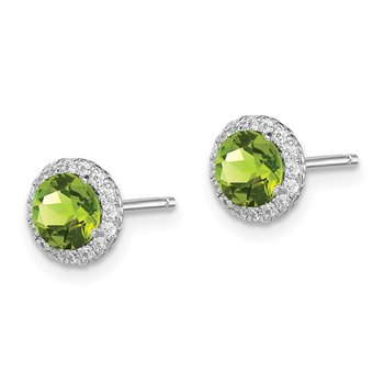 Sterling Silver Rhodium-plated Peridot & CZ Post Earrings
