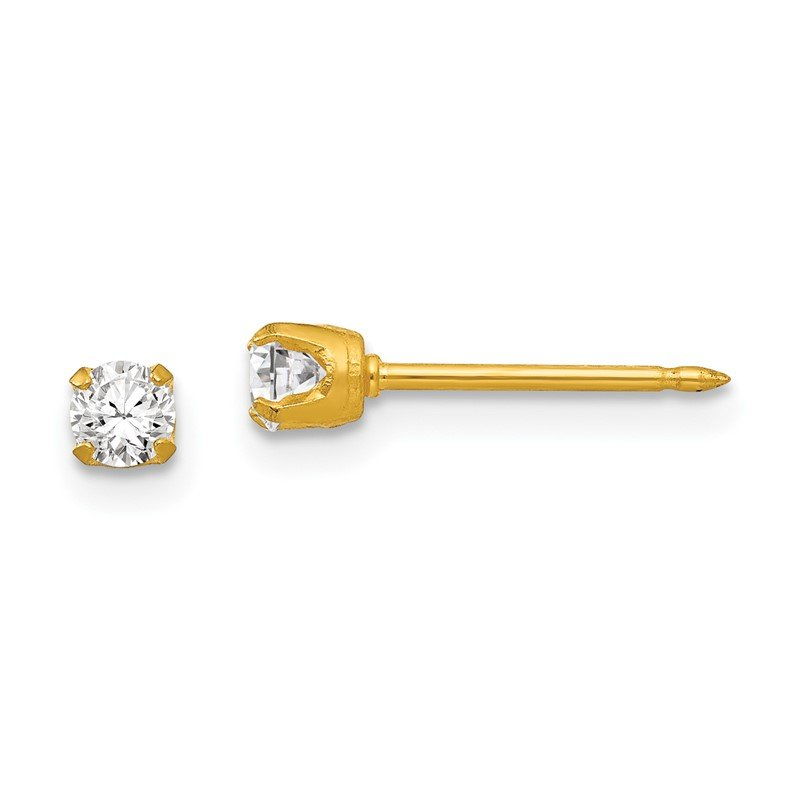 Quality Gold Inverness 18k 3mm CZ Post Earrings