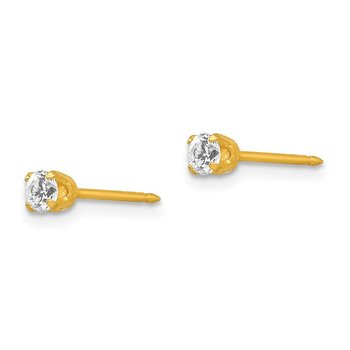 Inverness 18k 3mm CZ Post Earrings