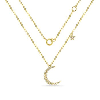 beautiful 14K crescent moon necklace with 42 diamonds 0.13ct 14mm long
