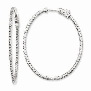 Sterling Silver Rhodium-plated CZ In and Out Oval Hinged Hoop Earrings