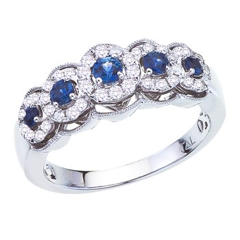 14k White Gold Sapphire and Diamond 5 Stone Ring